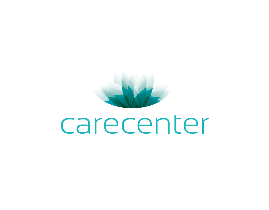 Carecenter Logo with Abstract Green Leaf with Fade Effect