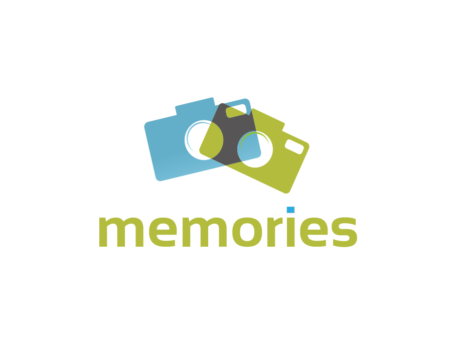 Memories Logo – Abstract Green and Blue Cameras Logo