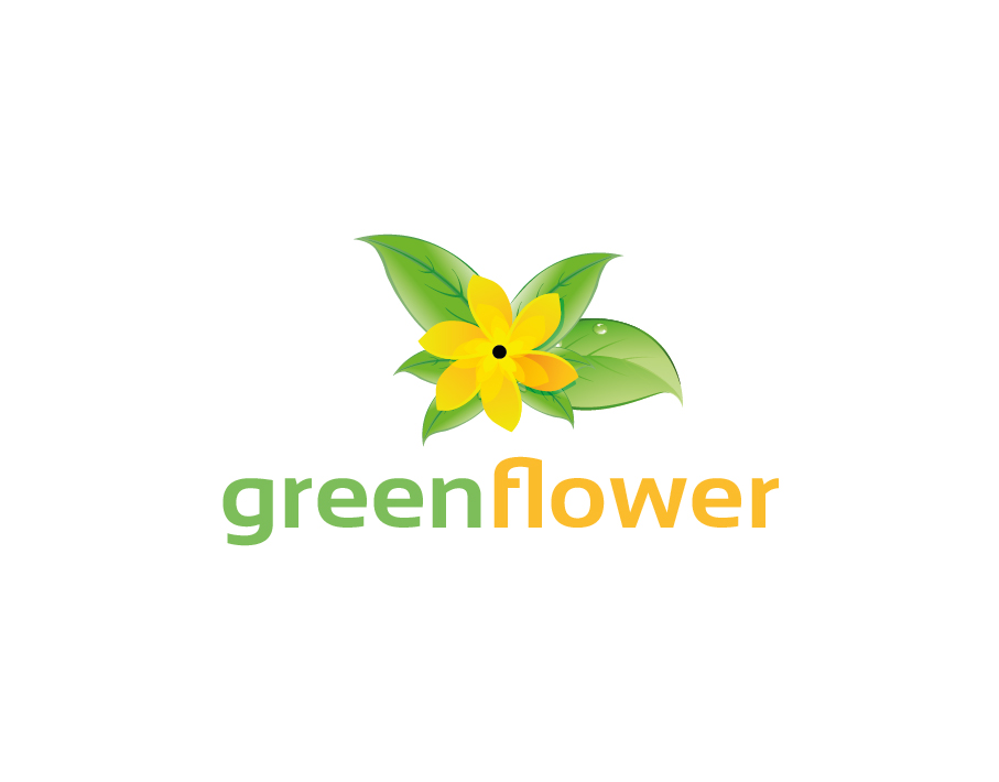 Green Flower Logo – Green Leaves with a Yellow Flower