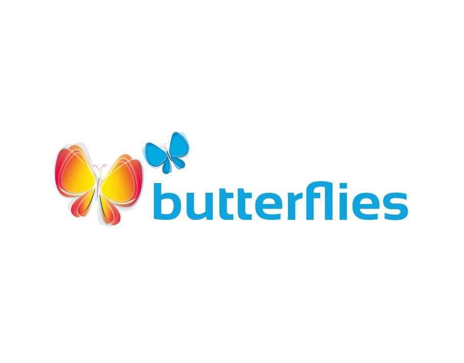 Butterflies Logo – Colorful Butterflies with Blue Bold Text