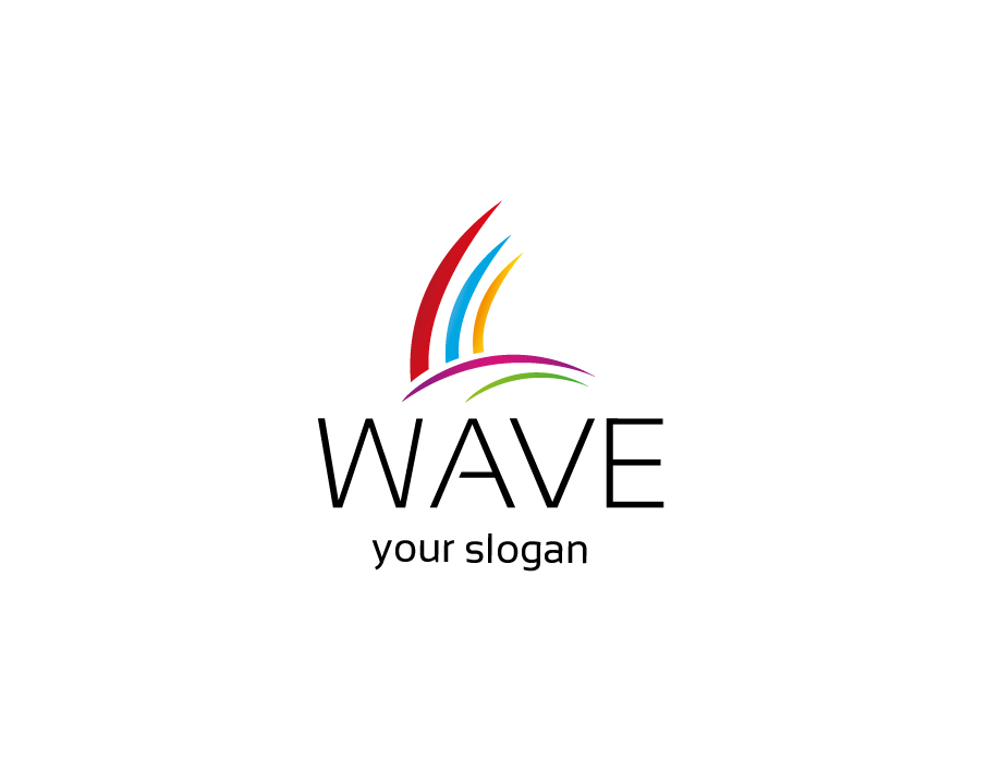 Wave Logo – Abstract Colorful Lines with Black Bold and Light Text